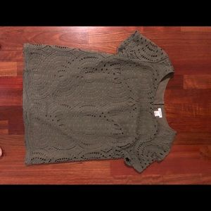 J. crew green lace top